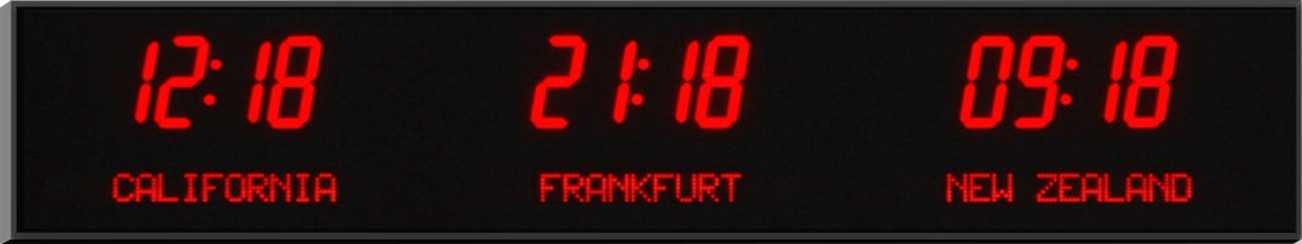 3 Zone Digital Wall Clock Time Zone Clocks From Digital