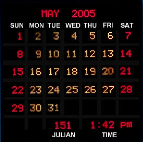 Full Month Calendar Clocks | Digital Clocks | DDS