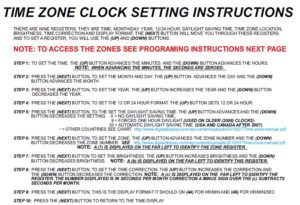 Time Zone Clock Setting Instructions