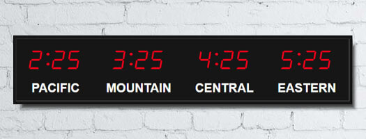 Bar Time Zone Clocks With White Vinyl Lettering