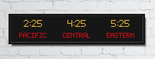 dot-matrix time zone clocks programmable electronic lettering