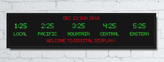 dot-matrix time zone clocks with programmable electronic lettering and date and message board
