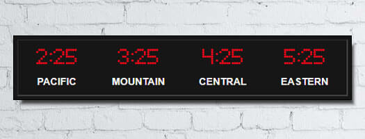 dot-matrix time zone clocks white vinyl