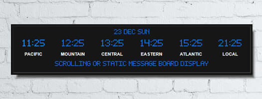 dot-matrix time zone clocks vinyl with date and message board