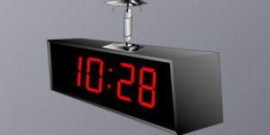 BSA-42418-2C Ceiling Double Sided Clock - 4 Digit