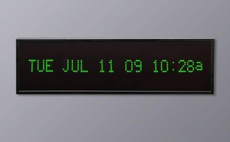 DAC-92412H-G Green Horizontal Alpha Calendar Clock