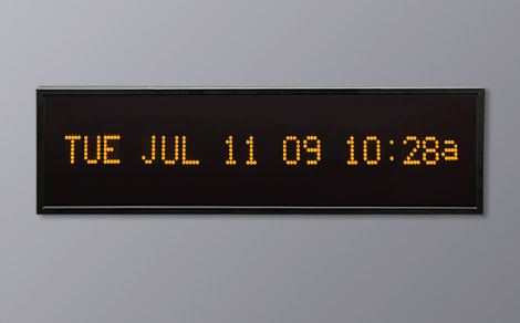 DAC-92412H-Y Yellow Horizontal Alpha Calendar Clock